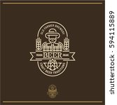 beer label  line beer logo  pub ... | Shutterstock .eps vector #594115889