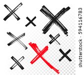 hand drawn x cross reject or... | Shutterstock .eps vector #594116783