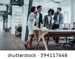 happy to work together. group... | Shutterstock . vector #594117668