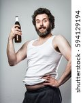 bearded proud manly man with... | Shutterstock . vector #594129194