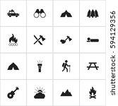 set of 16 editable camping... | Shutterstock .eps vector #594129356