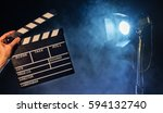 operator holding clapperboard ... | Shutterstock . vector #594132740