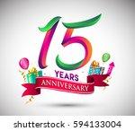 15th anniversary celebration... | Shutterstock .eps vector #594133004