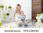 delighted mother and her little ... | Shutterstock . vector #594138440