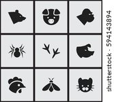 set of 9 editable animal icons. ...