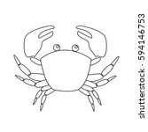 Contour Image Of Crab Isolated...