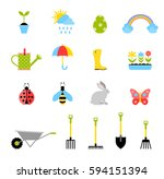 easter colored icons. gardening ... | Shutterstock .eps vector #594151394