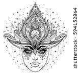 tribal fusion boho diva.... | Shutterstock .eps vector #594152864
