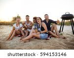 young company of friends... | Shutterstock . vector #594153146