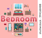 bedroom with furniture interior ... | Shutterstock .eps vector #594168488