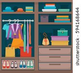 wardrobe for cloths. closet... | Shutterstock .eps vector #594168644
