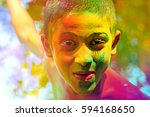 Colorful Face Of Indian Child...