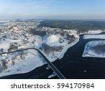 Aerial View Over River Nemunas...