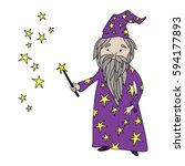 cute cartoon old wizard with... | Shutterstock .eps vector #594177893