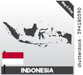 indonesia map and flag with...   Shutterstock .eps vector #594180590