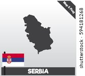 serbia map and flag with flat... | Shutterstock .eps vector #594181268