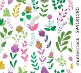 vector flower pattern. colorful ... | Shutterstock .eps vector #594181280
