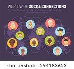 worldwide social network... | Shutterstock .eps vector #594183653