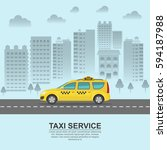 taxi against the background of... | Shutterstock .eps vector #594187988