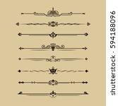 set of calligraphical elements... | Shutterstock .eps vector #594188096