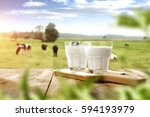 fresh milk and spring time  | Shutterstock . vector #594193979