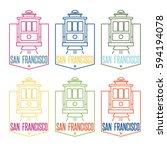 san francisco landmark tram... | Shutterstock .eps vector #594194078