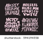 set of graffiti alphabets. font ... | Shutterstock .eps vector #594194558