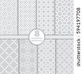 set of vector seamless patterns.... | Shutterstock .eps vector #594197708