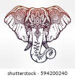 vintage style vector elephant... | Shutterstock .eps vector #594200240