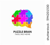 Stock vector puzzle brain abstract logo template 594201530