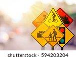 set of traffic warning sign on...   Shutterstock . vector #594203204
