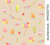 watercolor seamless pattern on... | Shutterstock . vector #594203753