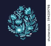 vector floral embroidery... | Shutterstock .eps vector #594209798