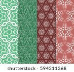 set of modern floral pattern of ... | Shutterstock .eps vector #594211268
