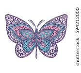 butterfly. animals. hand drawn... | Shutterstock .eps vector #594212000