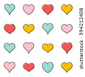 simple vector heart outline... | Shutterstock .eps vector #594212408