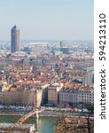 city scape of lyon  view on big ... | Shutterstock . vector #594213110