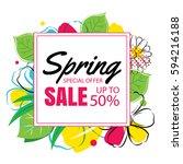 spring sale banner template... | Shutterstock .eps vector #594216188