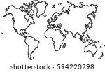 freehand world map sketch on...   Shutterstock .eps vector #594220298