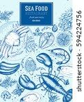 vintage seafood frame vector... | Shutterstock .eps vector #594224756