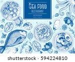 vintage seafood frame vector... | Shutterstock .eps vector #594224810