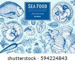 vintage seafood frame vector... | Shutterstock .eps vector #594224843
