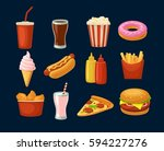 set fast food icon. cup cola ... | Shutterstock .eps vector #594227276
