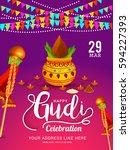 gudi padwa marathi new year... | Shutterstock .eps vector #594227393