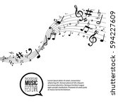 vector abstract music notes and ... | Shutterstock .eps vector #594227609