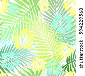 Green Palm Leaves With Blue An...