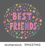 "word art ""best friends"" with... | Shutterstock .eps vector #594237443"