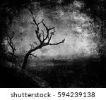 scary landscape with dead tree. ... | Shutterstock . vector #594239138