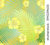 seamless colorful tropical... | Shutterstock . vector #594239633