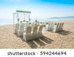 romantic wedding setting on the ... | Shutterstock . vector #594244694